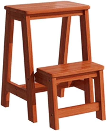 ChenXiDian-Super fuerte Escalera plegable - Taburete con peldaños Escalera de madera pequeña Taburete plegable con peldaños de 2 pisos - Taburete plegable Taburete con peldaños con escalera portátil -: Amazon.es: Hogar