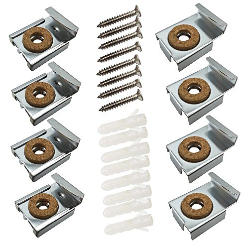 WISHAVE 2 Sets Bathroom Mirror Hanger Clips Wall Mounting Kit for 1/4 -