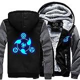 HOLRAN NARUTO Noctilucent Akatsuki Thicken Jacket Cosplay Sweater (BlackGrey Large)