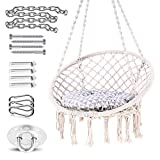 Ohuhu Hanging Chairs for Bedrooms, Hammock Chair Macrame Swing with Hanging Hardware Kit & Cushion