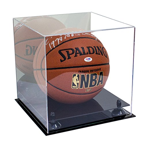 Better Display Cases Acrylic Full Size Basketball Display Case with Black Risers and Mirror (A001-BR)
