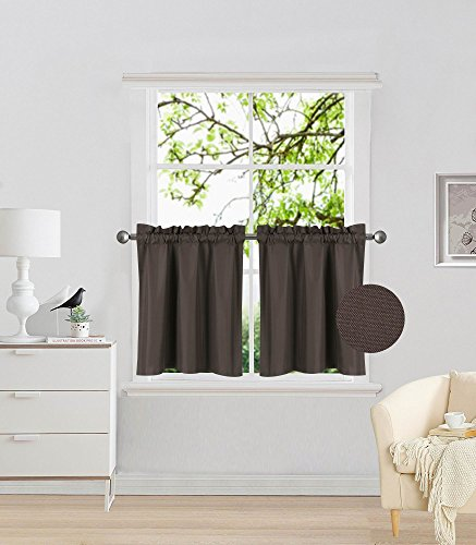 Fancy Collection 2 Panel Brown/Chocolate Bedroom Curtains Blackout Draperies Thermal Insulated Solid Rod Pocket Top Drapes for Kid's Room, Bathroom, Kitchen Privacy Window Dressing New ()