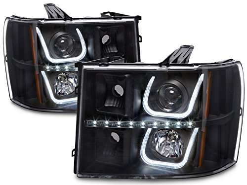 - HEADLIGHTSDEPOT Black Housing Halogen LED U-Bar Projector Set Headlights Compatible with GMC Sierra 1500 HD Classic 2500 3500 Includes Left Driver and Right Passenger Side Headlamps