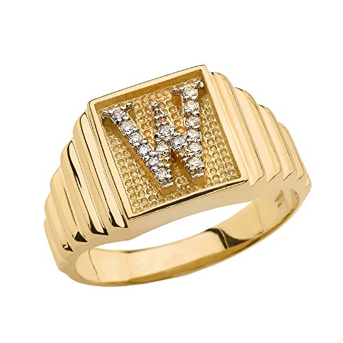 Men's 14k Yellow Gold Layered Band Square Face Diamond Initial Letter W Ring (Size - Shaped Diamond Face Men