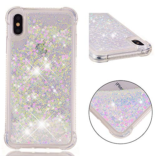 iPhone Xs Max Case, ZERMU Shockproof Clear Colorful Heart Pattern Waterfall Fushion Moving Liquid Sparkling TPU Bumper Luxury Bling Quicksand Flowing Floating Glitter Cover for iPhone Xs Max 6.5 inch