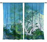 Abstract art draperies, set with two 50''x84'' panels in blue and green, Rising