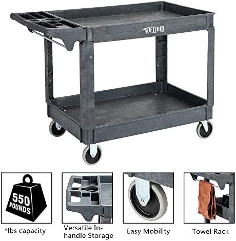 TUFFIOM Plastic Service Utility Cart, Support up to 550lbs Capacity, Heavy Duty Tub Storage Cart W Deep Shelves, Multipurpose Rolling Extra Large 2-Tier Mobile Storage Organizer, for Warehouse Garage
