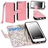 iPhone 5C Case, iPhone 5C Flip Case - E LV Deluxe PU Leather Wallet Purse Flip Folio Stand Case Cover for iPhone 5C with 1 Stylus and 1 Clear Screen Protector (Baby Pink)