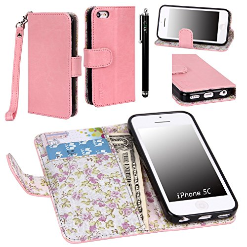 iPhone 5C Case, iPhone 5C Flip Case - E LV Deluxe PU Leather Wallet Purse Flip Folio Stand Case Cover for iPhone 5C with 1 Stylus and 1 Clear Screen Protector (Baby Pink) by E LV