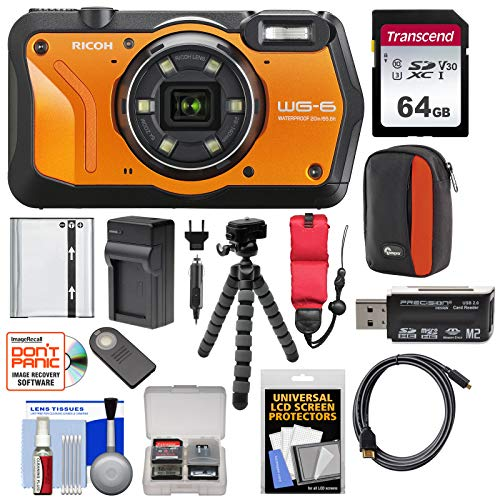 Ricoh WG-6 Waterproof/Shockproof Digital Camera (Orange) with 64GB Card + Battery + Charger + Case + Tripod + Kit
