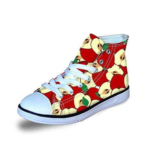 (FOR U DESIGNS Fashion Red Apple Print Kids Boys Girls Canvas Skate Sneaker Lace Up US 3)