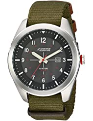Armitron Adventure Mens AD/1001BKSVGN Solar Powered Date Function Dial Army Green Nylon Strap Watch