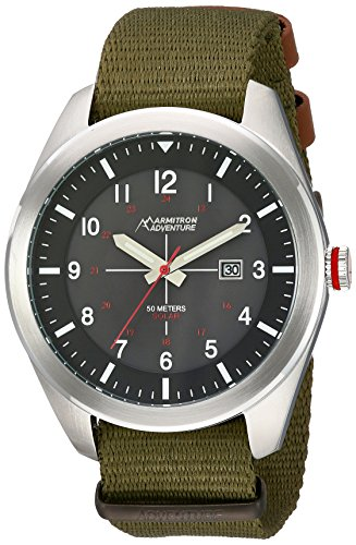 Armitron Adventure Men's AD/1001BKSVGN Solar Powered Date Function Dial Army Green Nylon Strap Watch