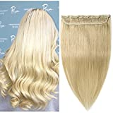 Clip in Remy Human Hair Extensions One Piece 5 clips 100% Remy Human Hair Straight Soft Extensions 3/4 FULL HEAD-Thicker(22″-100g, 613 Bleach Blonde) For Sale