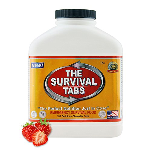 Large Day 15 Supply (Survival Tabs 15 Day 180 Tabs Emergency Food Survival Food Meal Replacement MREs Gluten Free and Non-GMO 25 Years Shelf Life Long Term Food Storage - Strawberry Flavor)
