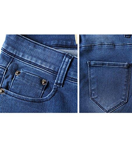Baymate Pantalones Elásticos Denim Leggings para Mujer Oscuro Azul