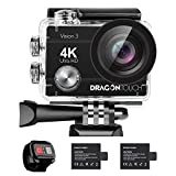Dragon Touch 4K Action Camera Vision 3 Underwater Waterproof Camera 170° Wide Angle WiFi Sports Camera with Remote 4X Zoom 2 Batteries and Dual Charger and Mounting Accessories Kit
