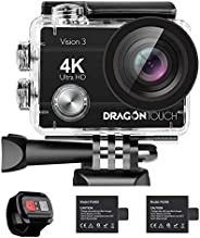 Dragon Touch 4K Action Camera Vision 3 Underwater Waterproof Camera 170° Wide Angle WiFi Sports Camera with Re