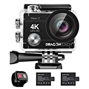 Dragon Touch 4K Action Camera 16MP Sony Sensor Vision 3 Underwater Waterproof Camera 170° Wide Angle WiFi Sports Cam…
