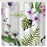 BROSHAN Tropical Flower Image Shower Curtain, Summer Hawaii Tropic Flowers Blossoming and Palm Leaves Nature Scenery Art Printing, Waterproof Fabric Bath Shower Curtain, White Green, 72x72 inch