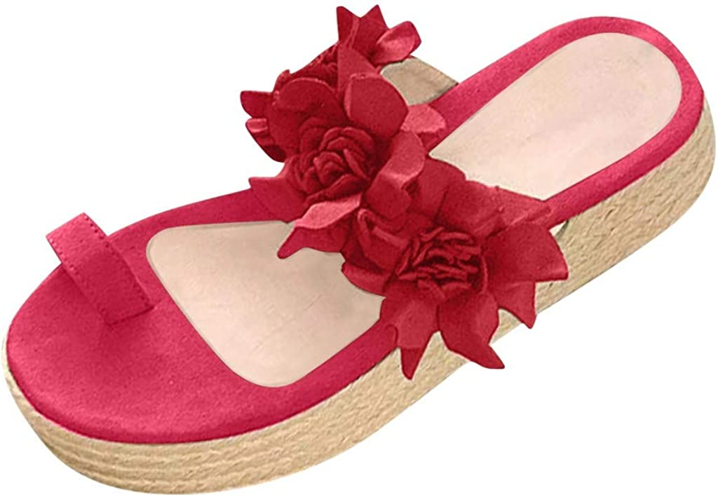 Hosamtel Sandals for Women Platform Shoes Fashion 2020 Summer Flower Shoes Casual Daily Slip On Thick Bottom Slippers