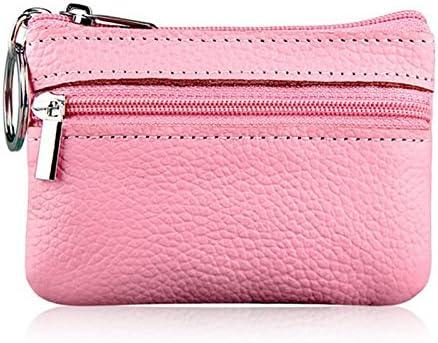 Dabixx Soft Men Women Card Coin Key Holder Zip Genuine Leather Wallet Pouch Bag Purse Brown
