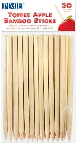 PME LS174 Bambusstäbchen für kandierte Äpfel 13 cm, 30 Stück, Holz, Brown, 0.3 x 0.3 x 13 cm, Einheiten