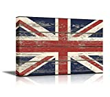 Wall26 - Canvas Prints Wall Art - Flag of UK / Union Jack on Vintage Wood Board Background Stretched Canvas Wrap. Ready to Hang - 16