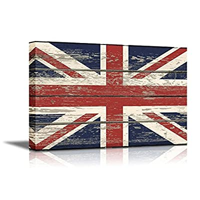Flag of UK Union Jack on Vintage Wood Board Background Stretched, Premium Product, Majestic Expertise