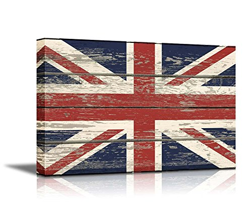 ts Wall Art - Flag of UK / Union Jack on Vintage Wood Board Background Stretched Canvas Wrap. Ready to Hang - 24