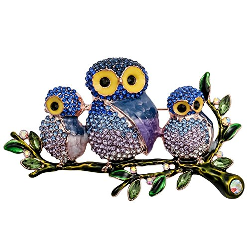 Owl Bird Brooch - LOVFASH Animal Brooch Owl Bird Brooch Pin Crystal & Rhinestone Brooch Pins for Women Girls