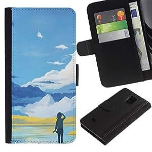 """A-type (Azul Paisaje de montaña"""") Colorida Impresión Funda Cuero Monedero Caja Bolsa Cubierta Caja Piel Card Slots Para Samsung Galaxy S5 Mini (Not S5), SM-G800"""