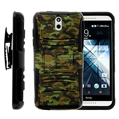 HTC Desire 610 Case, HTC Desire 610 Holster, Two Layer Hybrid Armor Hard Cover with Built in Kickstand for HTC Desire 610 (AT&T) from MINITURTLE | Includes Screen Protector - Green Digital Camouflage