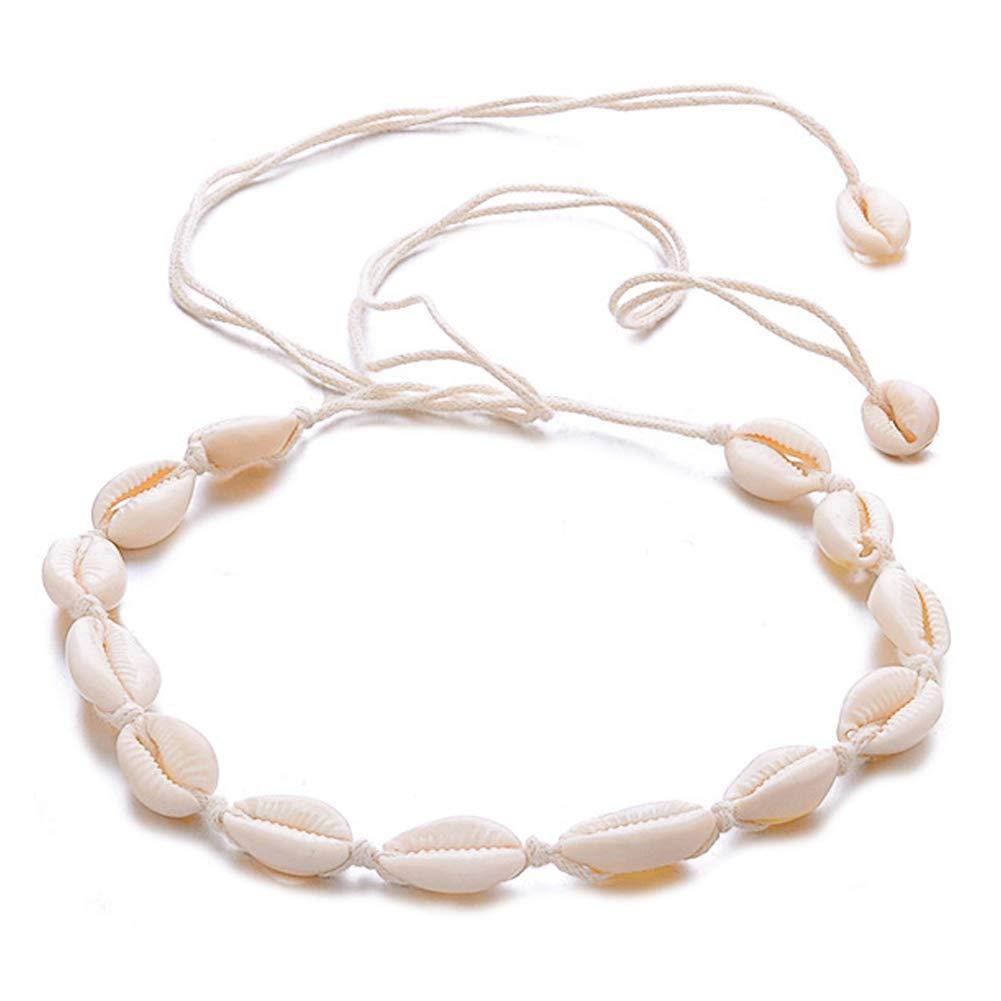 LEACK Shell Collier de Cou cauris Hawaiian Shell Collier de Perles de Plage pour Les Filles
