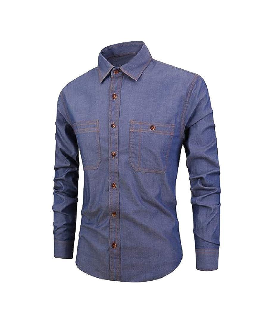 Abetteric Mens Button Fit Original Fit Vogue Long Sleeve Dress Shirts