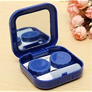 Color: Dark Blue, Portable Cute Travel Contact Lens Case Eye Care Kit Holder Mirror Box by STCorps7