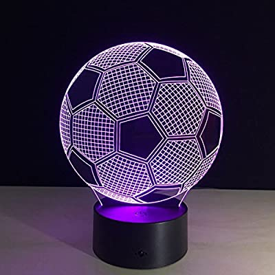 Circle Circle Sport Soccer Football 3D Optical Illusion Lamp 7 Colors Change Touch Button and 15 Keys Remote Control LED Table Desk Night light for Bedroom Decoration