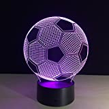 Soccer 3D Illusion LED Night Light Soccer Ball Football Desk Table Lamp with 7 Color Changeable Sport Element Home Decoration Birthday Gift Christmas Xmas for Boy sport lovers