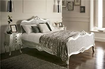 Vintage Provence French Style Rattan Silver King Size Bed Frame