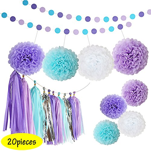 Conjugal Bliss 20PCS Party Supplies Purple and Blue Happy Birthday Banner Tissue Paper Flowers Tissue Tassel Garland For Wedding Baby Shower Party Decorations (Purple + - Sunglasses Casino From