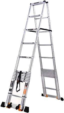 Escalera Telescópica- Escalera Telescópica De Aluminio con Barra Estabilizadora, Escalera Retráctil De Ingeniería De Servicio Pesado para Ático Doméstico, Altura 2 M/ 2.6 M/ 2.9 M/ 3.2 M: Amazon.es: Hogar