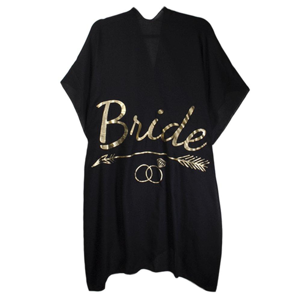 BYSUMMER Wedding Beach Ruana for Bride and Bridesmaids (Bride (black))