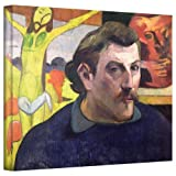 Paul Gauguin 'Self Portrait with Yellow Christ' gallery-wrapped canvas is a high-quality canvas print that references one of the key works of Symbolist painting, The Yellow Christ. Its abstract forms are made of large sweeps of bold color and heavy b...