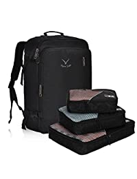 Hynes Eagle 38L Flight Approved Weekender Carry on Luggage Backpack (Black with 3PCS Packing Cubes)