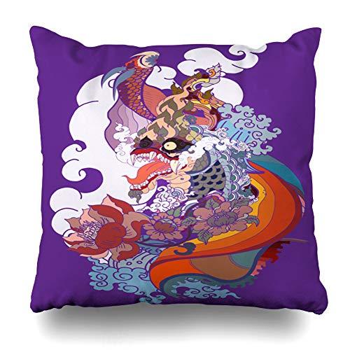 Ahawoso Throw Pillow Cover Art Thai Dragon Isolate Tattoo Abstract Forest Asia Asian Beta Design Buddhism Decorative Zipper Cushion Case Square 18