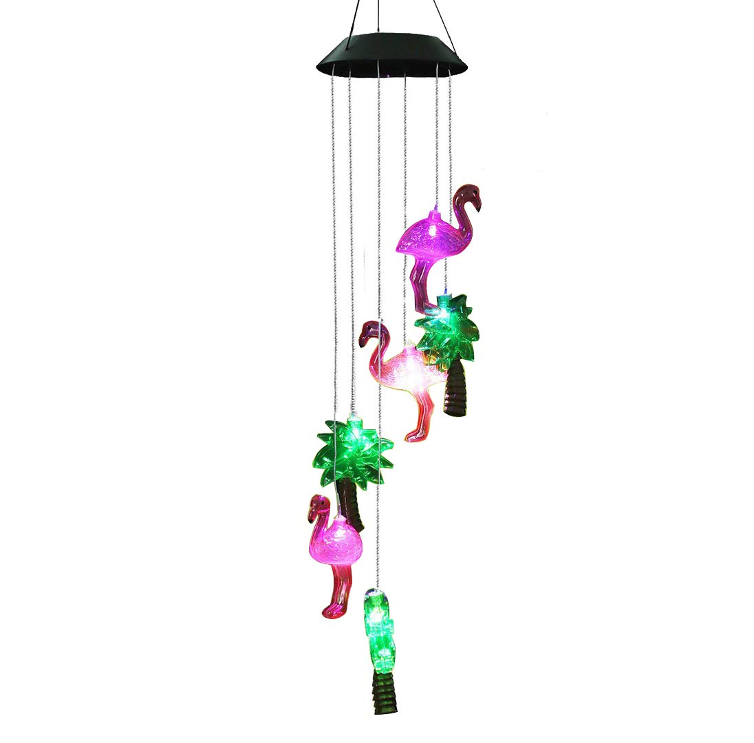 Gzero Changing Color Solar Powered Plastics Flamingo Tree Wind Chime Wind Moblie LED Light, Spiral Spinner Windchime Portable Outdoor Chime for Patio, Deck, Yard, Garden, Home,
