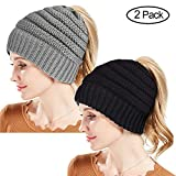 Rosoz Winter Ponytail Beanie for Women,Warm Beanie Tail Soft Stretch Cable Knit Messy High Bun Beanie Hat Cap