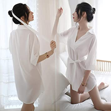 Juguetes sexuales pareja-Pijama sexy para mujer Pijama Camisa de novio Loción V profunda Falda de gasa transparente Pijama Pijama Ropa interior - Blanco - Talla única - Venta caliente: Amazon.es: Salud y
