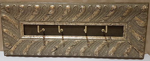 Embossed, Distressed, Antique Silver Leaf Wood Frame Moulding Key Hook with Grey Wash and Coffee Suede Insert Key Rack