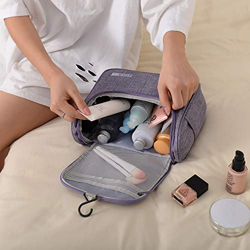 Enteer Hanging Toiletry Bag with Zipper TSA Friendly Travel Bag make up Bag (Medium, Grey)